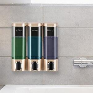 Image 1 - トリプルソープディスペンサーウォールマウントシャンプーディスペンサー洗剤シャワージェルボトルゴールド 300 ミリリットルプラスチック浴室アクセサリー家庭用