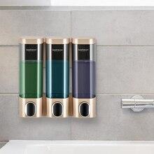 Dispensador de sabão triplo, suporte de parede, detergente, chuveiro, gel dourado 300ml, acessórios de banheiro, para casa