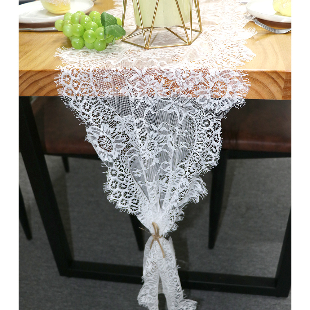 White Floral Table Runner Vintage Look Rose Table Cover Chair Sash Dinner Banquet Baptism Wedding Party Decoration 35x300cm