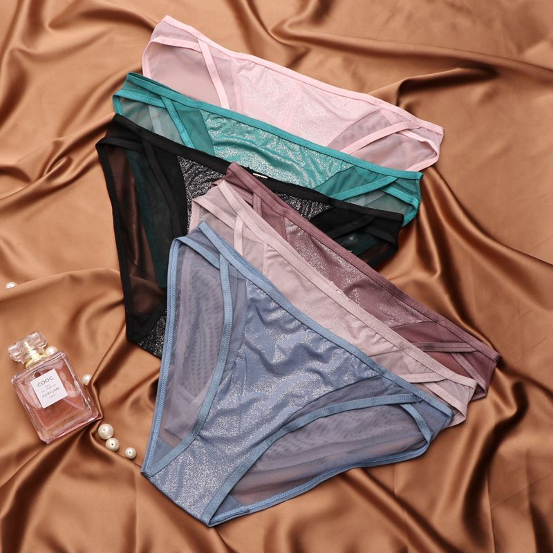 SP&CITY European Solid Bright Women Briefs Sparkling Transparent Underwear Simple Seamless Panties Sexy Lingerie Panty Thongs