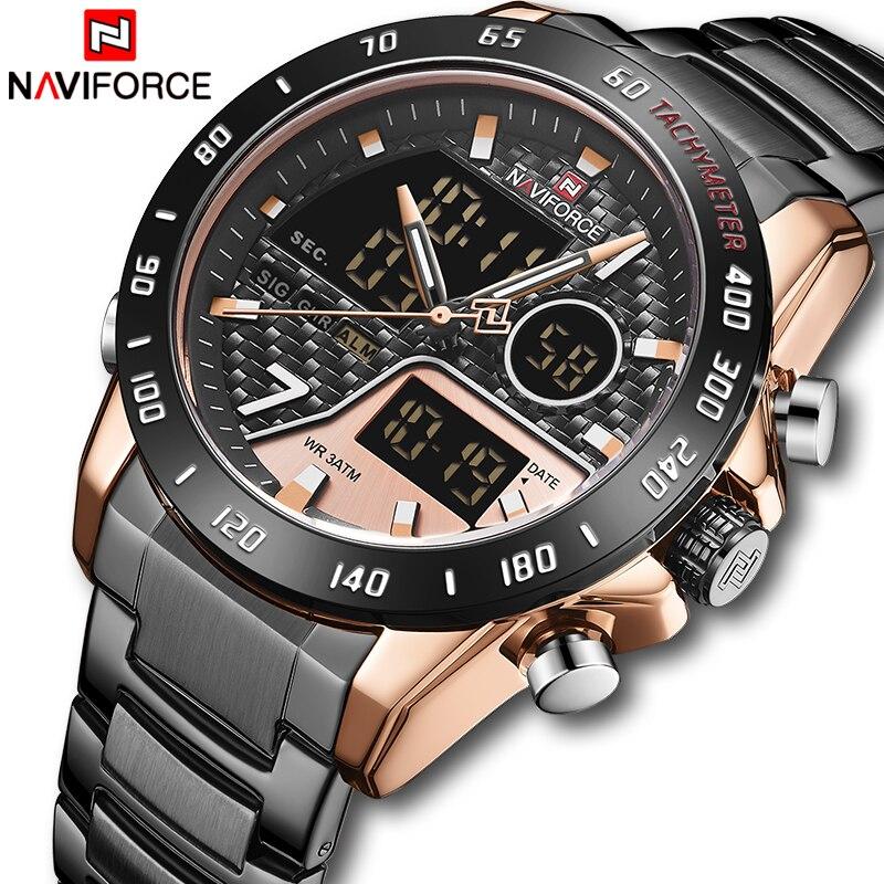 NEW Men Watch Top Luxury Brand NAVIFORCE Army Sport Men's Watches Stainless Steel Waterproof Quartz Wristwatches Male Clock
