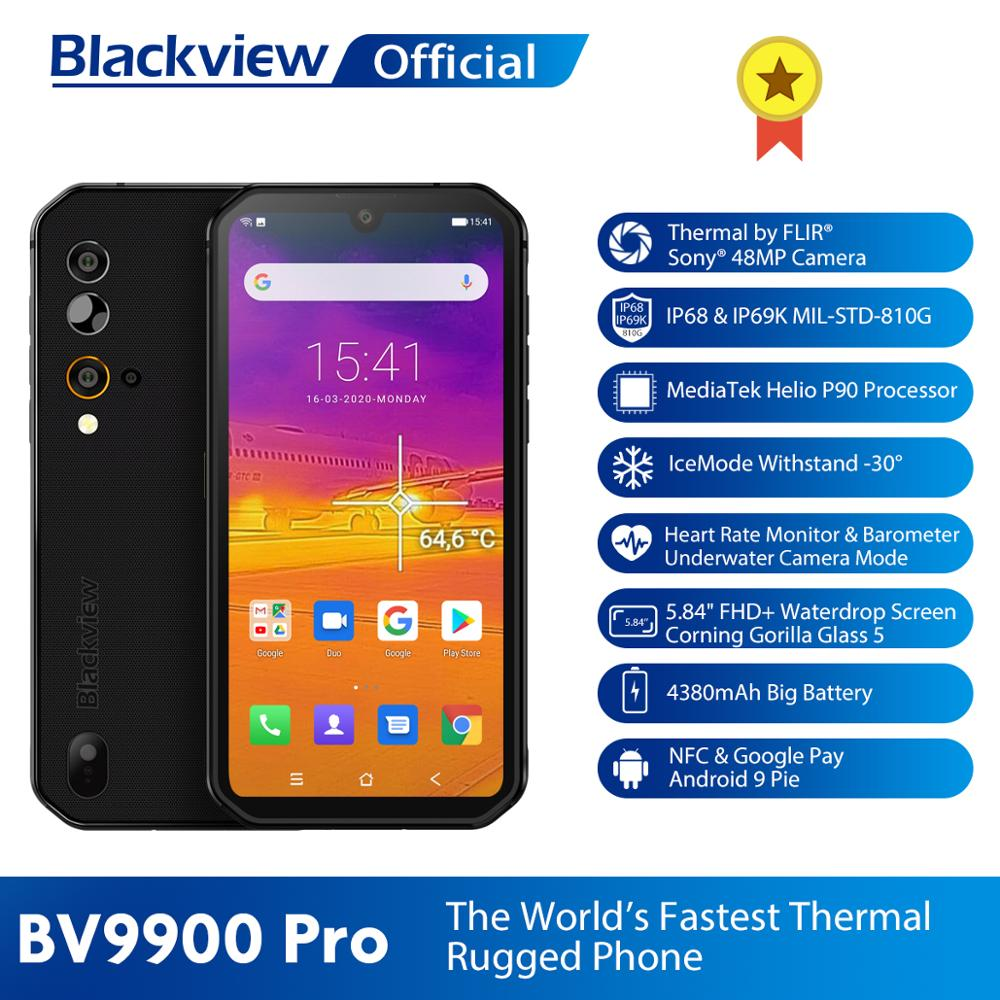 Blackview BV9900 Pro Thermal Camera Mobile Phone Helio P90 Octa Core 8GB+128GB IP68 Rugged Smartphone 48MP Quad Rear Camera