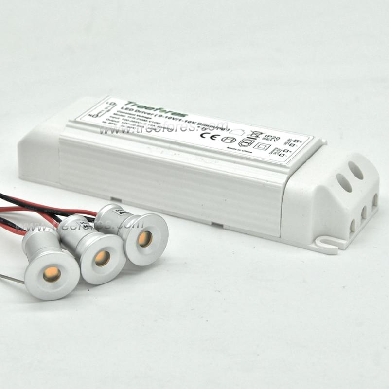 1W LED Mini Downlight 15mm Recessed Lighting DC12V +AC 100-240V 0-10V PWM Dimmable Transformer IP65 Wall Stair Garden Lighting