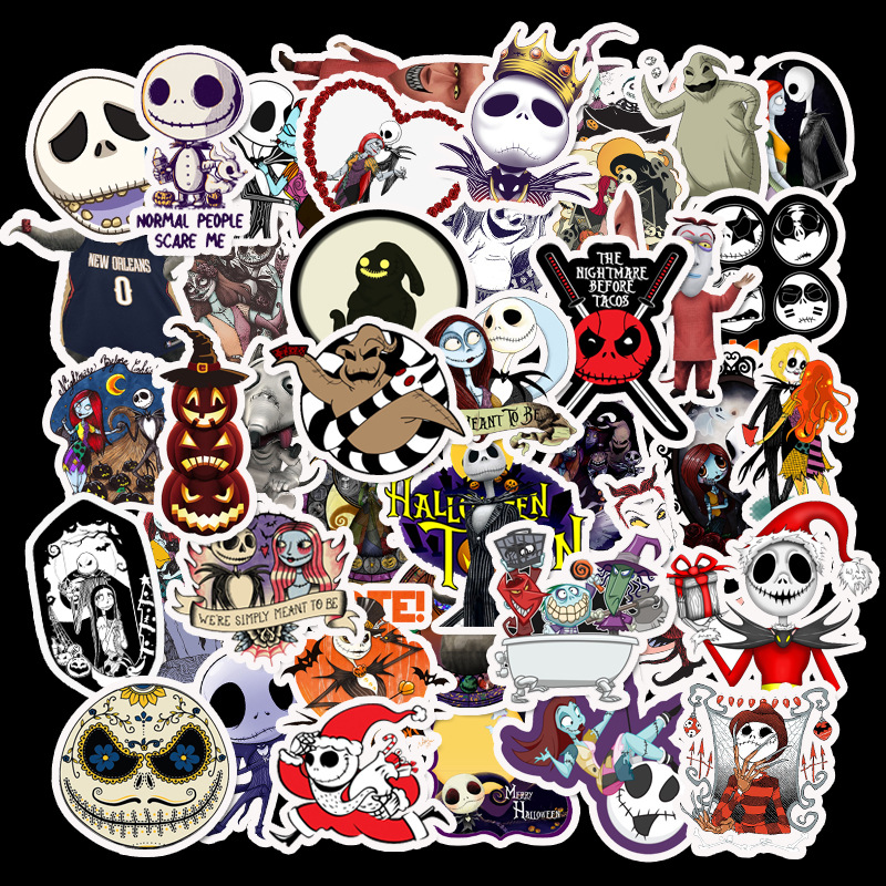 50Pcs Terror Series Graffiti Skeleton Stickers For Doodle Suitcase Laptop Car Motorcycle Scrapbooking Skateboard Sticker