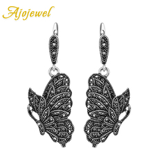 Ajojewel Women Ladies Vintage Butterfly Earrings Black Rhinestone Animal Drop Personalized Jewelry Bijoux Femme