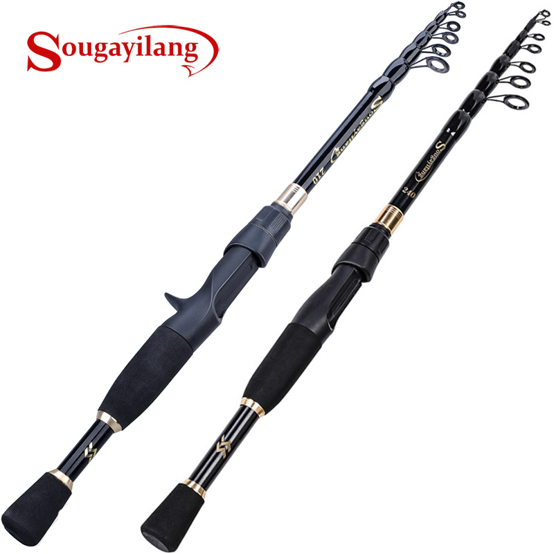 Sougayilang Telescopic Fishing Rod Ultralight Weight Spinning/Casting  Fishing Rod Carbon Fiber 1.8-2.4m Fishing Rod Tackle