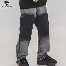 Aolamegs Men Jeans Retro Gradient Patchwork Casual Denim Pants High Street Straight Loose Trousers Streetwear Autumn