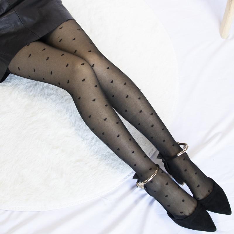 Women's Tights Classic Small Polka Dot Silk Stockings.Thin Lady Vintage Faux Tattoo Stockings Pantyhose Female Hosiery Black