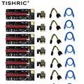6pcs TISHRIC gpu PCIE PCI-E Riser 009S card PCI E X16 PCI Express 6Pin to SATA 1X 16X USB3.0 Extender LED For Mining ETH BTC