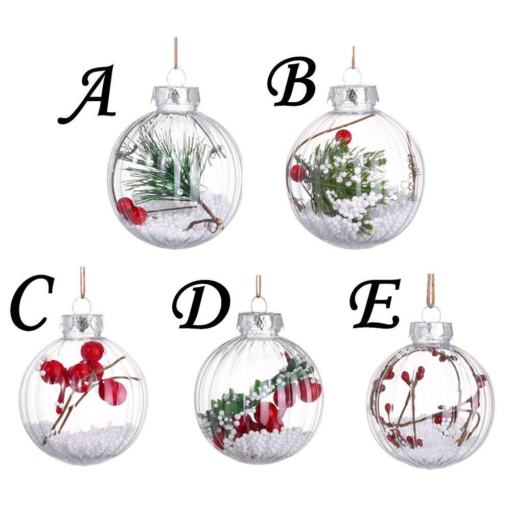 1x Bola Transparente De Árbol De Navidad Decoración Adorno Regalo Baubles