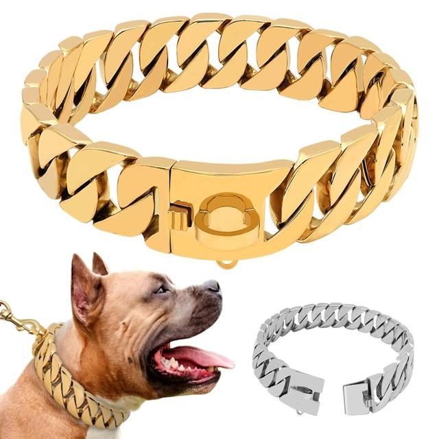 سوبر قوي سلسلة الكلاب طوق الحيوانات الأليفة زلة خنق طوق الفضة الذهب الفولاذ المقاوم للصدأ سلسلة للكلاب كلاب متوسطة وكبيرة الحجم بيتبول البلدغ