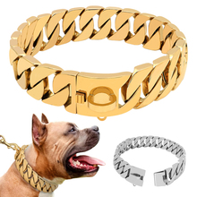 Super StrongสุนัขCollar Pet Slip Choke CollarเงินสแตนเลสสตีลChianสำหรับสุนัขขนาดกลางขนาดใหญ่Pitbull Bulldog