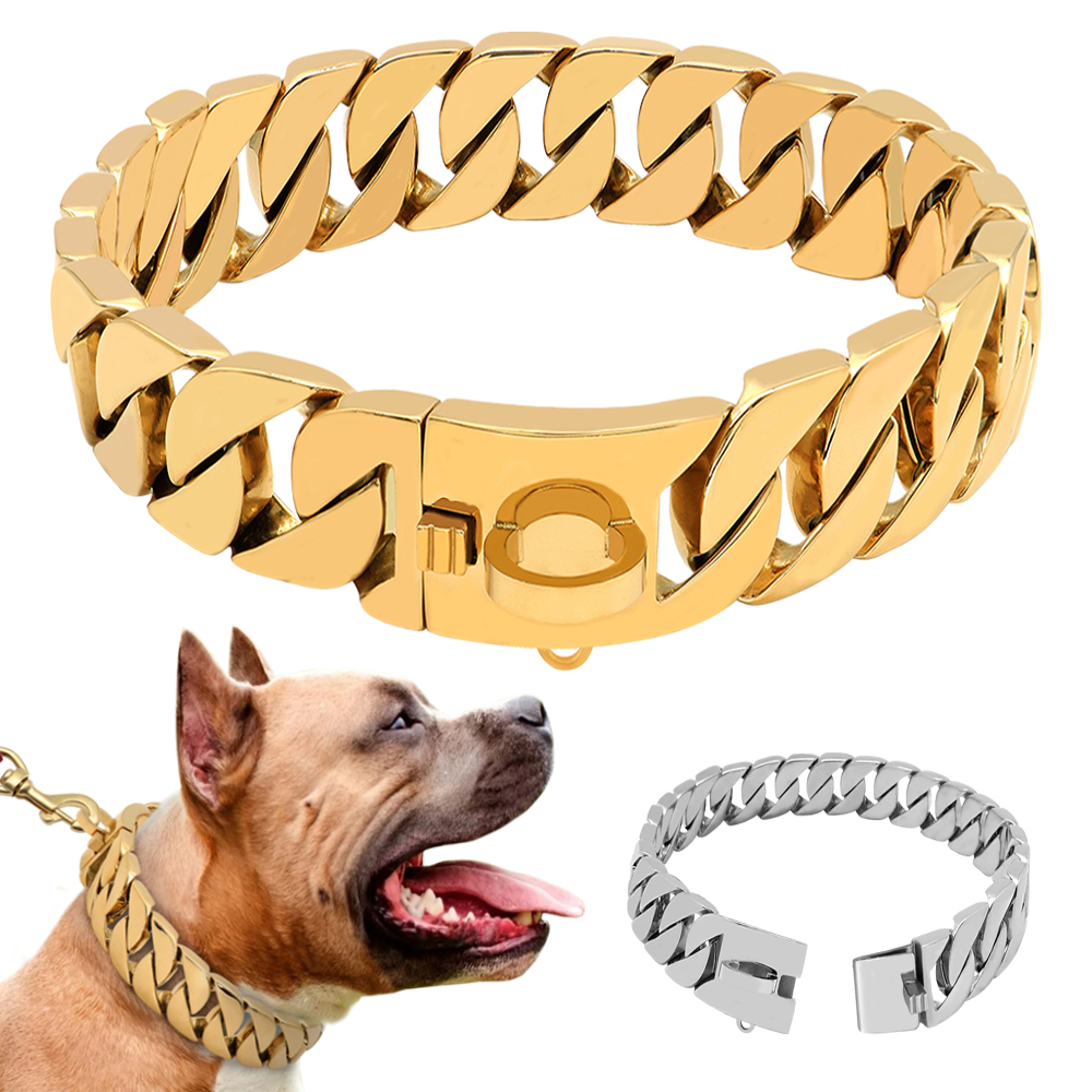 14mm Silver Miami Stainless Steel Curb Chain Pet Dog Necklace Collar Choker