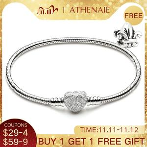 Image 1 - ATHENAIE 925 Sterling Silver Snake Chain With Pave Clear CZ Heart Clasp Bracelet Fit All European Charm Beads Valentine Jewelry