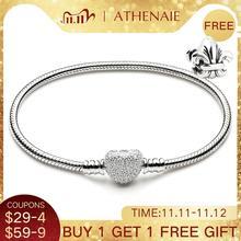 ATHENAIE Cadena de serpiente de plata de ley 925 con corazón de circonia cúbica transparente, pulsera con cierre, compatible con todas las cuentas de colgantes europeos, joyería de San Valentín