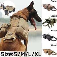 Army Tactical Military oddychające kamizelki dla psów zestawy Dog Cothes uprząż regulowany trening polowanie kamizelka dla psa uprząż w Kamizelki myśliwskie od Sport i rozrywka na