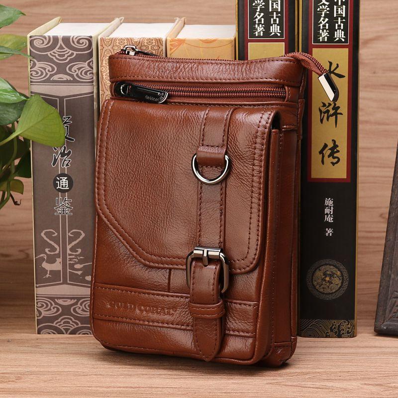 Male Small Shoulder Cross Body Bags Cigarette Pocket Loop Men Belt Hip Waist Pack Genuine Leather Cell Mobile/Phone Fanny Bag