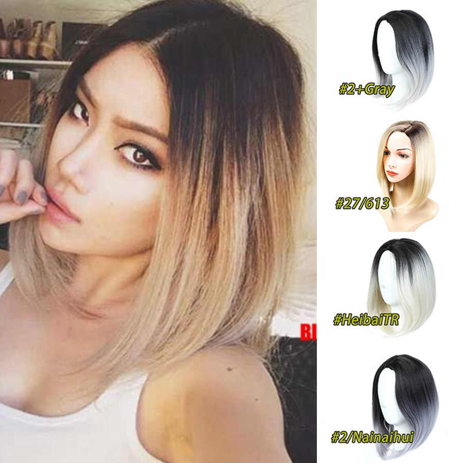 Mumupi Fashion Women Bob Wig Short Straight Black Brown Gray Blue Pink Colors Hair Natural Black Synthrthic Hair For Daily Wear Synthetic None Lace Wigs Aliexpress