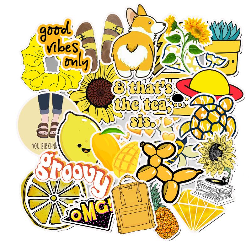 50 PCS Fashion Cartoon Yellow Computer Stickers DIY Suitcase Laptop Waterproof PVC Decor Sticker For MacBook Notebook