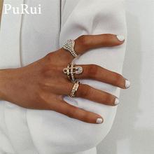 Purui Crystal Rings for Women  Rhinestones Engagement Wedding Finger Ring 3Pcs/Set Gold Color Bohemian Luxury Fashion Jewelry