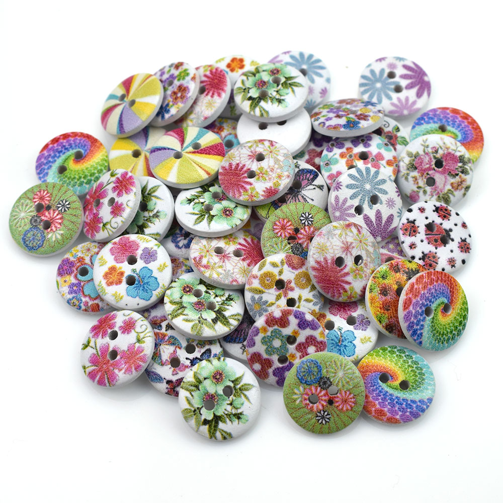 Wooden Chekered Button Sewing 2 Holes Button Craft Scrapbook Clothing Accessory