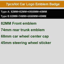 7 шт./компл. углеродного волокна передний капот эмблема 82 мм+ задние значок 74 мм+ ступицы колеса Кепки 68 мм+ руль стикеры 45 мм