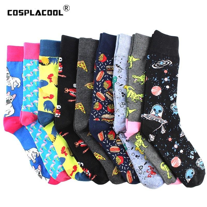 Креативные забавные носки для животных, хлопковые носки Alien Planet для мужчин, новинка, дизайнерские носки для скейтборда с динозавром, Calcetines ...