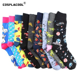 Creative Food Animal Funny Socks Cotton Alien Planet Socks Men Novelty Design Dinosaur Crew Skateboard Socks Calcetines Hombre