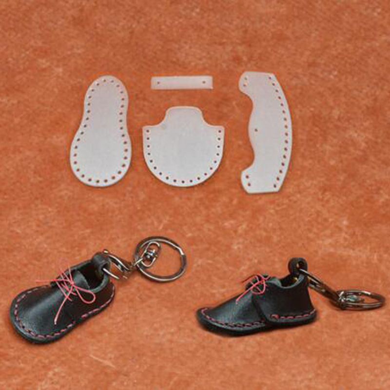 Handmade Leather Craft Small Shoes Mould Acrylic Keychain Stencil Set Boots Keyring Pendant Pattern Acrylic Template
