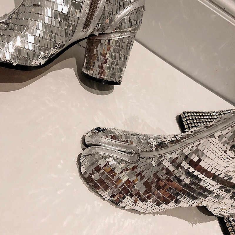 Chic Tabi Botas Mujer lujo tacones altos Botas Mujer invierno lentejuelas botines Bling Botas femeninas calidad superior Zapatos De Mujer