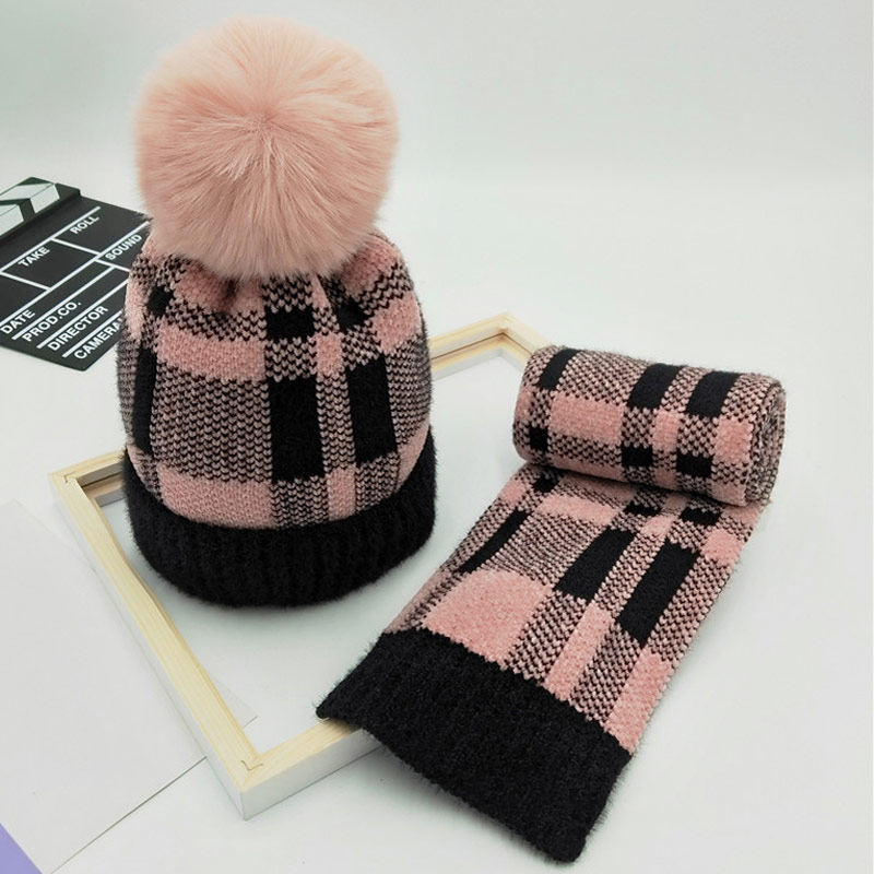 Winter Plaid Knit Hat Kids Scarf Set Fleece Thick Beanie Scarf For Girls Boys 2-8years