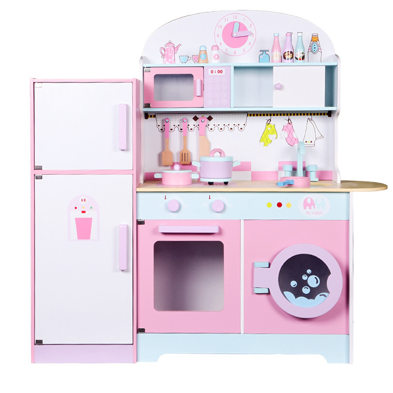 Children's Enlightenment Wooden Large Kitchen Refrigerator Stove Fruit Early Education Parent-child Puzzle Pretend Play Toys