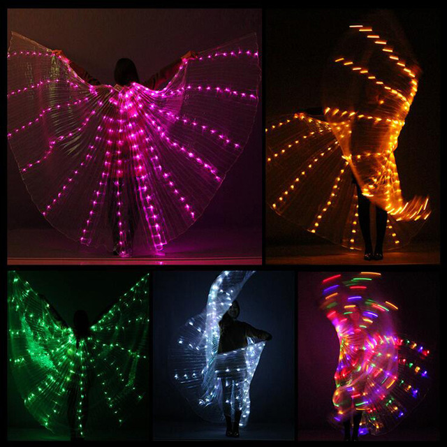 Women Belly Dance Lamp Props Open 360 Degrees LED Shining Wings Girls Wings Angle Of Opening Dancer Props Wings Stick