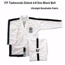 2020 White ITF Approve Taekwondo Kimono Ultralight Breathable Uniform Doboks With Design Embroidery Taekwondo suit 1-6 Dan Gi original jcalicu world taekwondo poomsae dan doboks jc wt junior dan male