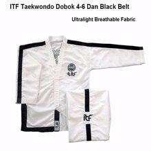 New White Ultralight Breathable ITF Approve Taekwondo Assistant Uniform master Doboks With Design Embroidery Kimono suit 1-6 Dan original jcalicu world taekwondo poomsae dan doboks jc wt junior dan male