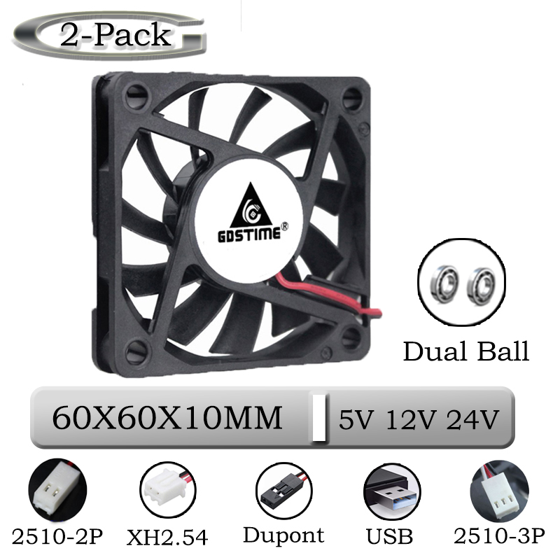 2 Pieces Gdstime 2Pin DC 5V 12V 24V 24 Volt 6cm 60x60x10mm 60mm Dual Ball Bearing Brushless Cooling Fan 60mm X 10mm  Cooler