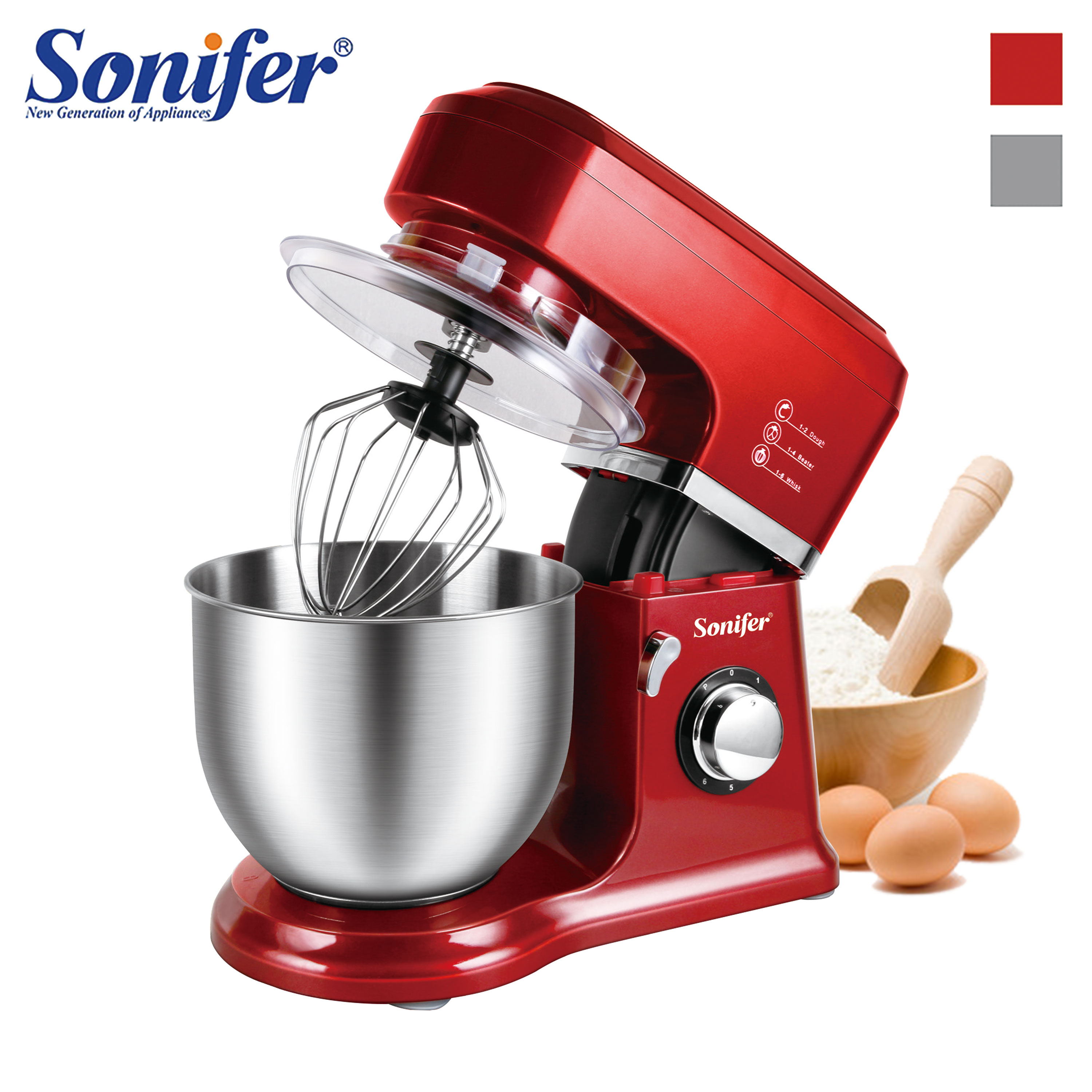 800W High Power Food Mixers Large size Stainless Steel Whisk Household Cream Mixer Kneading Machine Food Processor Sonifer