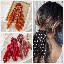 Women Ponytail Hair Ties Scarf Elastic Hair Rope for Women Hair Bow Scrunchies Flower Print Ribbon Bands Girls Hair Accessories