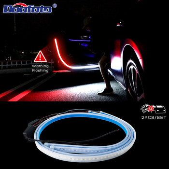 цена на 2020 Latest Car Door Opening Warning Light Welcome Lights Strip LED Strobe Flashing Anti Rear End Collision Safety Lamps