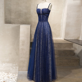 Banquet Noble Slim Evening Dress 2019 New Fashion Sexy Spaghetti Strap Sleeveless Sequins Prom Party Dress a Line Floor Length