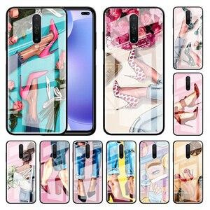 High Heeled Shoes Girl Women Glass Capa For Xiaomi Redmi Note 9S 8T 9 8 Pro K30 Mi 9T CC9 10 Lite Poco M2 X3 NFC Case Phone Cas