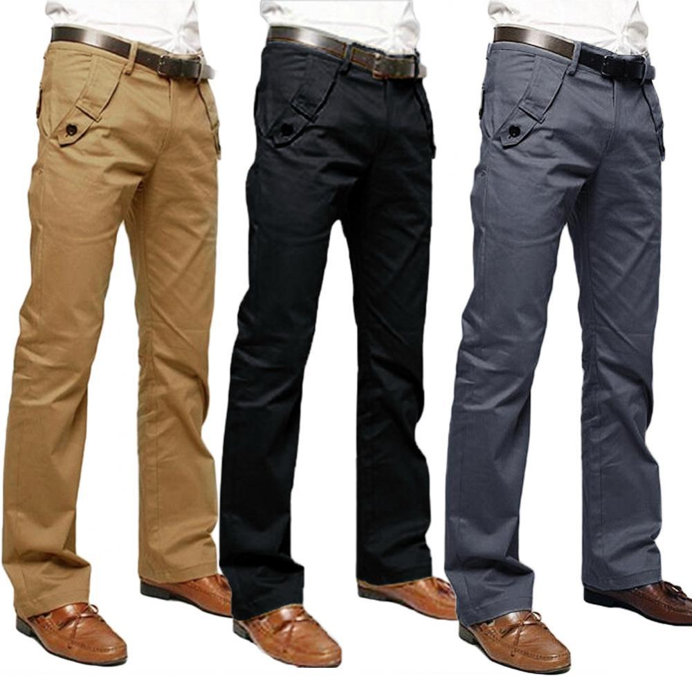 50% Hot Sale Men Casual Solid Color Pockets Cotton Long Straight Pants Slim Button Trousers