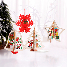 3PCS 3D Christmas wooden hollow pendant decoration tree five-pointed star Santa Claus snowflake gift