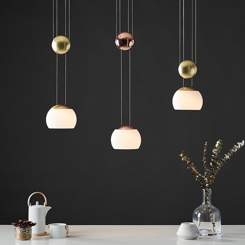 Modern Led Pendant Lighting Fixture Gold Glass Hanging Lamps Luminaire Suspension Lights Nordic Kitchen Dining Room Home Decor