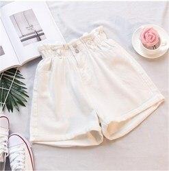 Donne di estate Dei Jeans A Vita Alta shorts Pulsante Streetwear Vintage Cotone shorts Blu Nero Sexy Del Denim Femminile shorts