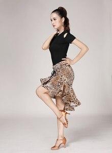 Image 4 - נמר תבואה לטיני Fishtail חצאית למבוגרים נקבה לטיני עיסוק ביצועי תלבושות ריקוד חצי אורך חצאית נשים ריקוד
