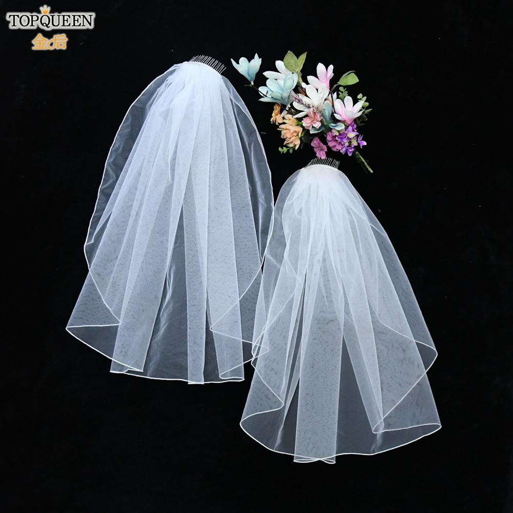 TOPQUEEN V14 Customised Bridal Veils Simple Elbow Length Veil Short Bridal Veil with Comb Pencil Edge Wedding Veil