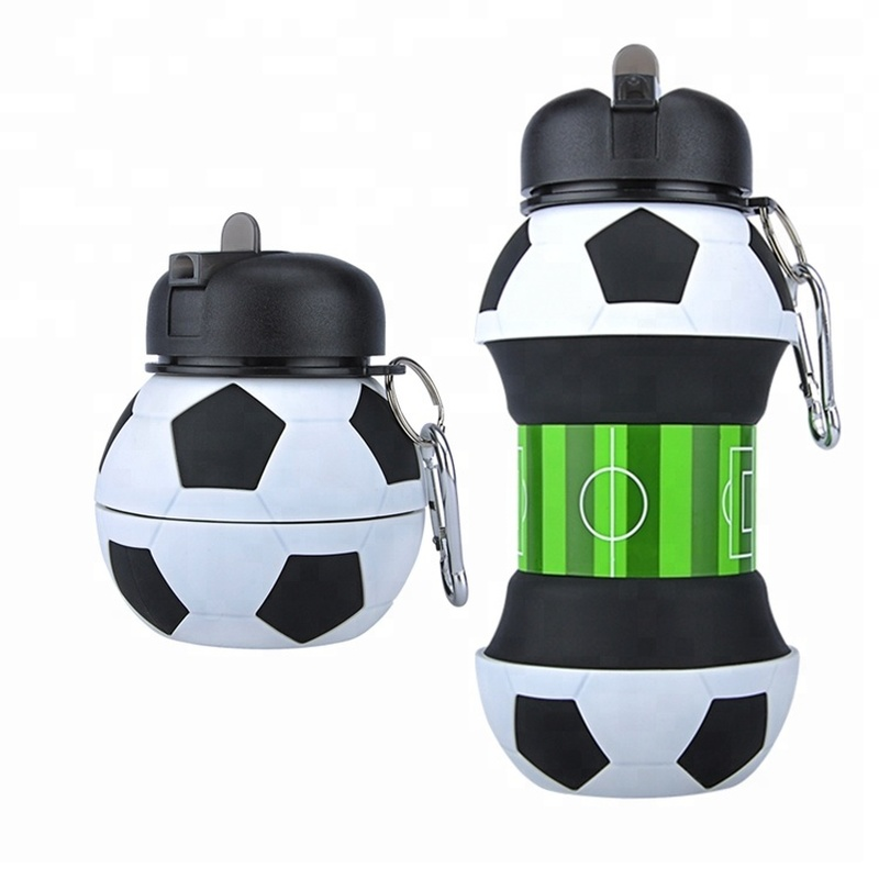 Novelty Football Sports Water Bottle with Straw Foldable Collapsible Travel Silicone