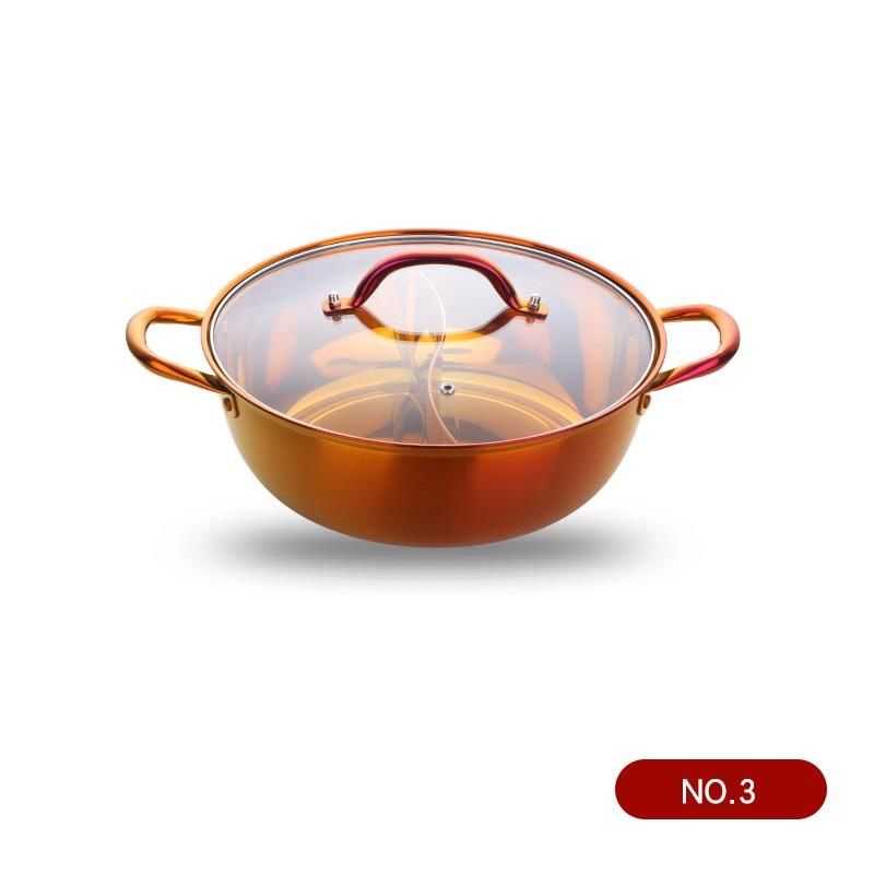 Горячий горшок из нержавеющей стали с двумя отделениями, кухонный горшок, кухонная утварь, однослойная совместимая суповая кастрюля, горшки для домашнего ресторана, инструменты - Цвет: Rainbow no.3