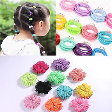 100pcs/Lot Girl Hair Rope Color Rubber Band Elastic Korean Version Simple Female Tiara Cute Hair Accessories For Ponytail(China)